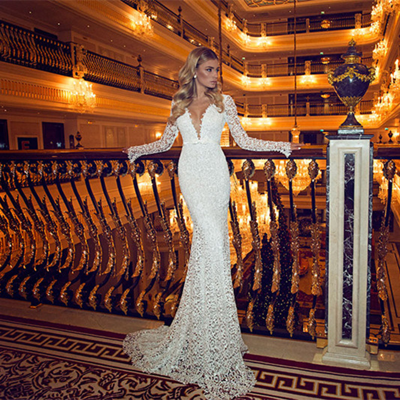 Hot Sale Sexy Backless Long Sleeves Lace Mermaid Lace Deep V-Neck Bridal Gown Long 2018 Floor Length Mother Of The Bride Dresses