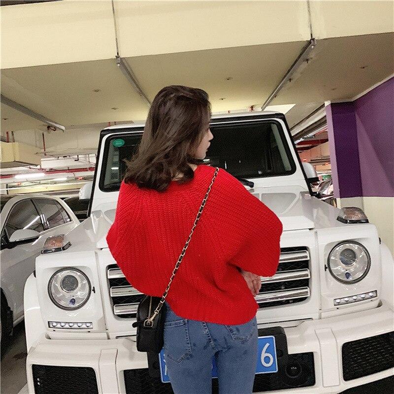 2019 Sweater Coat Lazy Wind Coarse Wool Sweater Women Autumn Loose Knit Sweater Short Coat Tide V Neck Cardigans Sweater Women in Cardigans from Women 39 s Clothing