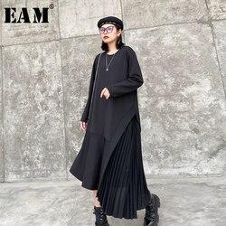 Женское Ассиметричное платье EAM, черное плиссированное платье большого размера с круглым вырезом и длинным рукавом, весенне-Осенняя мода 2020...