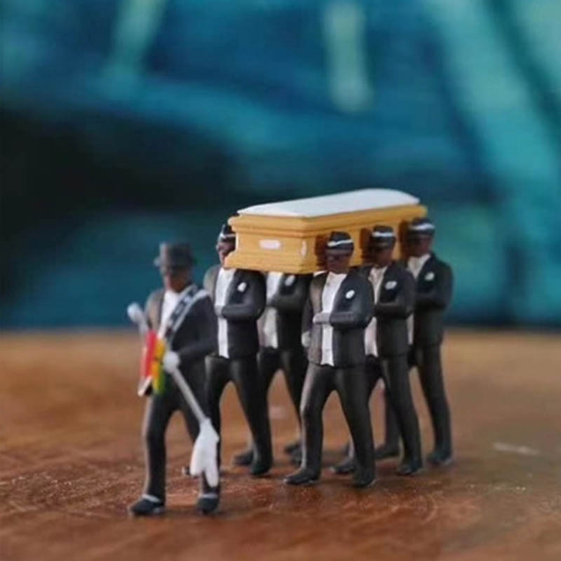 Cosplay Ghana Dancing Pallbearers Coffin Dance Figure Action Funeral Dancing Team Display Funny Accessories Toy For Boy