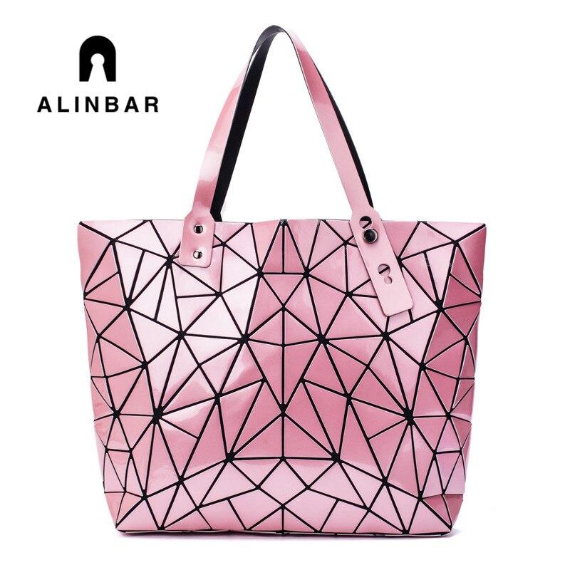 Drop Shipping Hot Sale Bags For Women 2019 Geometric Laser Tote Shoulder Hologram Folding Handbags Large Pink Silver