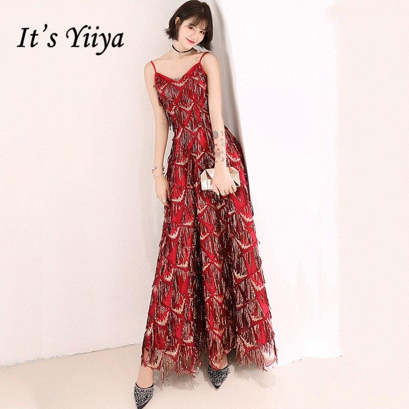 Burgundy Robe De Soiree It's Yiiya AR289 Sequins Tassel Zipper Evening Dresses Long Spaghetti Strap A-Line Elegant Formal Dress