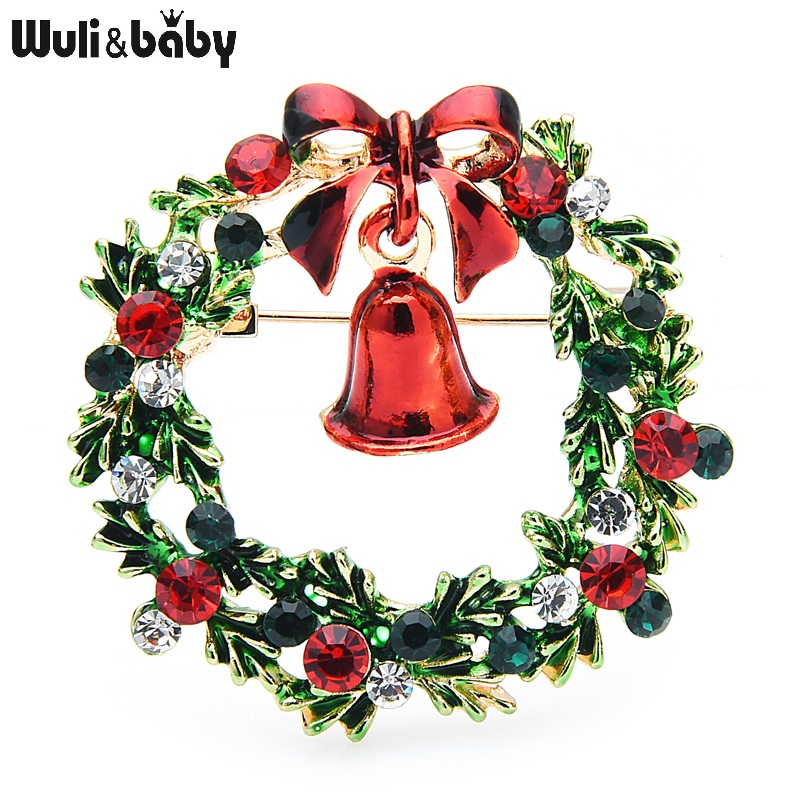 Классические эмалевые Броши Wuli & baby Wreach Броши с колокольчиком для мужчин и женщин с цветочным принтом на Рождество, брошь на шпильке
