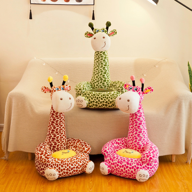 Cartoon Kids Seats Sofa Chair with Filler PP Cotton Comfortable  Animal Giraffe Baby Portable Chair Gifts for Children