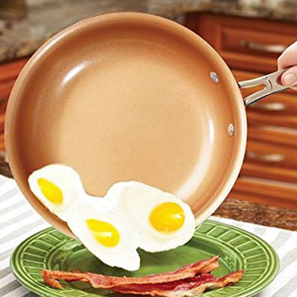 Copper Pot Copper Color Aluminum Smokeless Non-Stick Pan Universal Induction Cooker Steak Pot Single Bottom