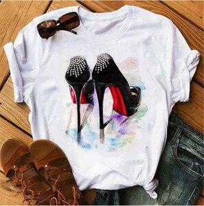High Heels Shoes Print Vogue T Shirt Women Funny T Shirt Womens Hip Hop Punk Shirt Hipster Streetwear Femme Tops