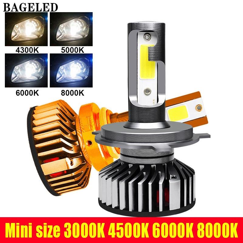 BAGELED Mini Size LED H7 H4 LED H1 H11LED H3 9006 9005 60W 8000LM 6500K 5000K 8000K 12V Auto Mini Headlamp COB Fog Light Bulb