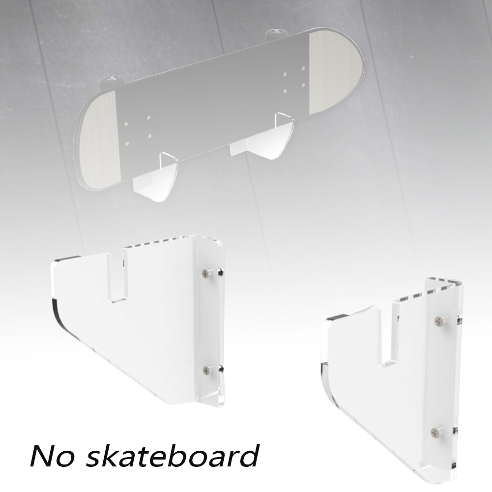 2pcs Easy Install Skateboard Rack Display Stand Mounts Deck Wall Hanging Longboard Clear Acrylic Home Floating Adjustable Size