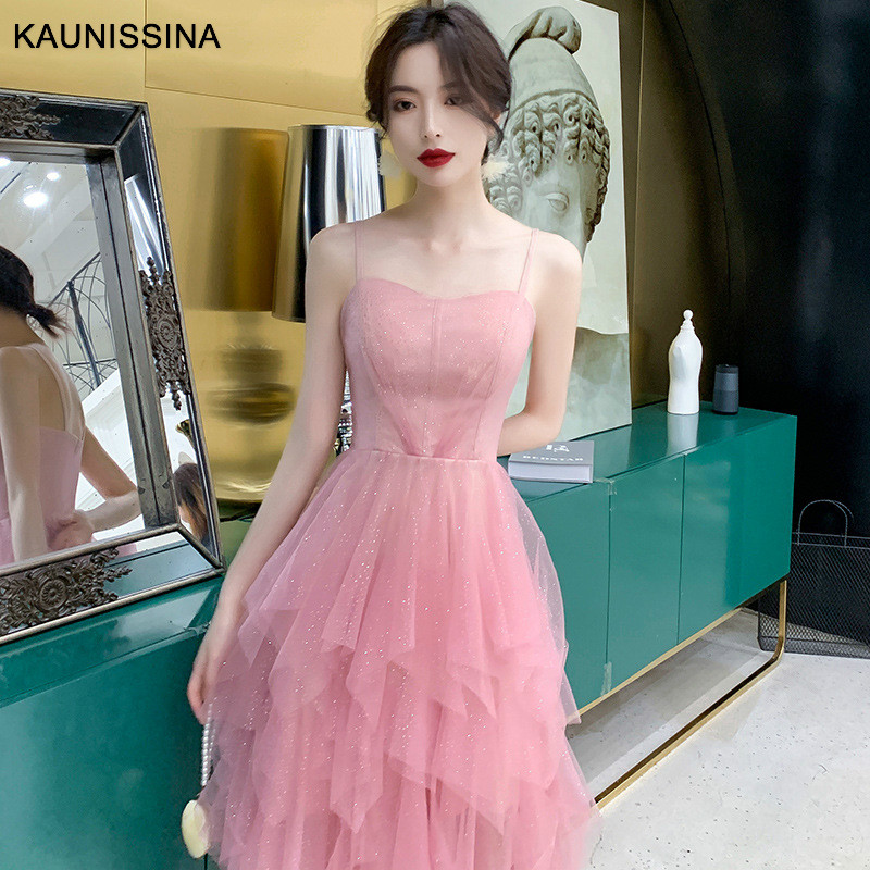 KAUNISSINA Pink Cocktail Dress Beautiful Spaghetti Straps Sexy Banquet Party Gowns Backless Sexy Homecoming Dresses