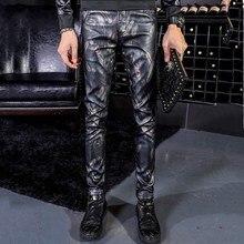 Для мужчин, рисунок в виде перьев и надписи штаны из искусственной кожи, Повседневное Модная тонкая искусственная кожа женские брюки-карандаш из искусственной кожи 28, 29, 30, 31, 32, 33, 34, 36, высокое качество