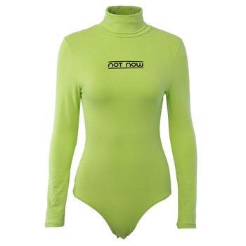 Fashion Letter Print T-Shirt Slim Turtleneck Long Sleeve Jumpsuit Spring Women Bottoming Solid Color Slim Top Romper 1