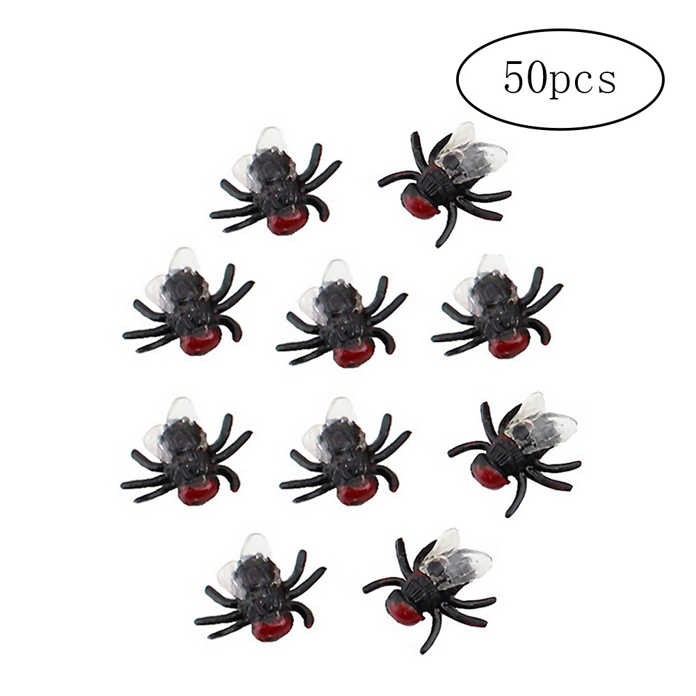 50Pcs Fake Flies Simulation Model As Halloween Decor Toys (As Picture Shown)