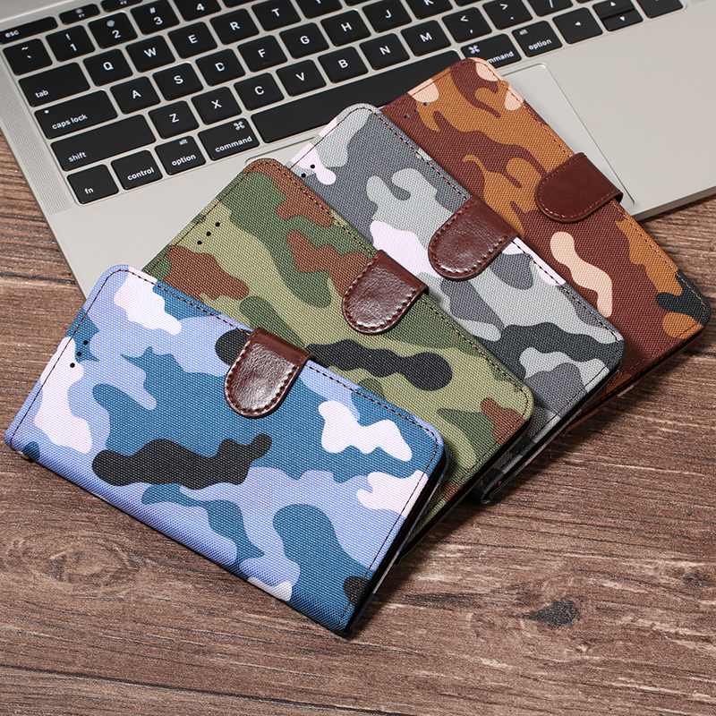 Camouflage Army Green <font><b>Flip</b></font> Leather Wallet <font><b>Case</b></font> For <font><b>SAMSUNG</b></font> S10e S9 Plus S8 <font><b>Note</b></font> 8 <font><b>4</b></font> 5 S5 S6 S7 Edge A5 A7 J4 J6 A750 2018 Cover image