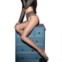 Seamless Women Oil Glossy Ultra Thin Pantyhose Shiny Sheer Sexy High Waist Line Stockings