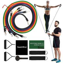 17Pcs/Set Exercise Resistance Bands Set Stretch Workout Band Yoga Exercise Fitness Band Rubber Loop Tube Bands with Bag(China)