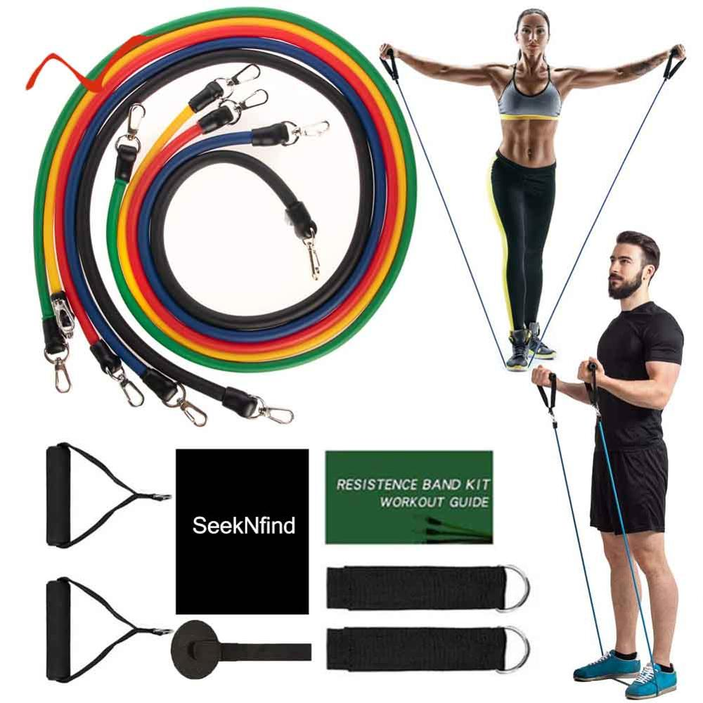 17Pcs/Set Exercise Resistance Bands Set Stretch Workout Band Yoga Exercise Fitness Band Rubber Loop Tube Bands with Bag