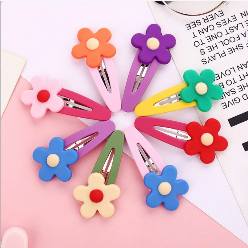 8 Colors Flower Hair Clips For Girls Candy Color Hairpin Headdress Clip Barrettes Ins Fashion Floral Hair Accessories Female New