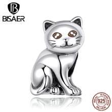 Encantos animais bisaer 925 prata esterlina gato bichano gatinho contas encantos ajuste charme pulseiras prata 925 jóias ecc1305