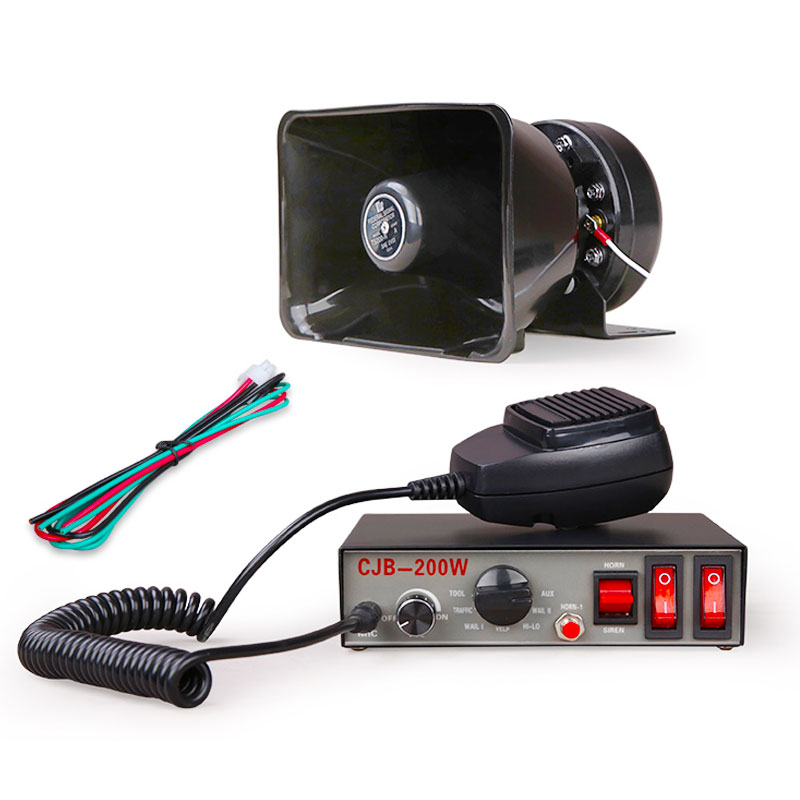 Sirène de Police de voiture 12V CJB 200W, 8 sons, alarme incendie, haut-parleur, Microphone portable, klaxon d'urgence