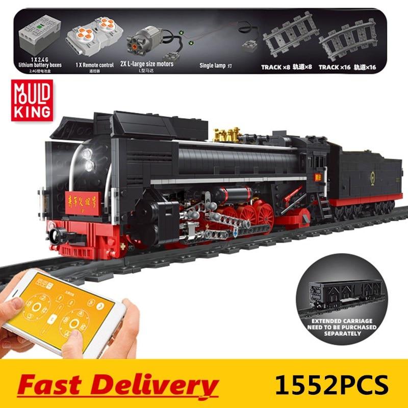 Moule roi ville série les Locomotives à vapeur QJ télécommande train blocs de construction briques enfants jouet éducatif cadeaux de noël