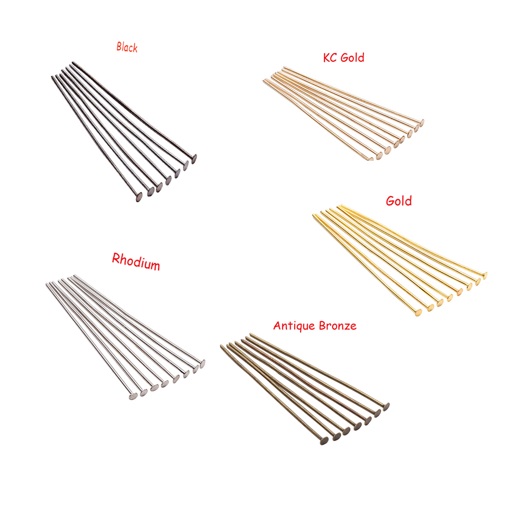 200pcs/lot 20 25 30 40 50 60 70 mm Flat Head Pins Headpins Beads Charms Pins For Jewelry Findings Making DIY Jewelry Supplies