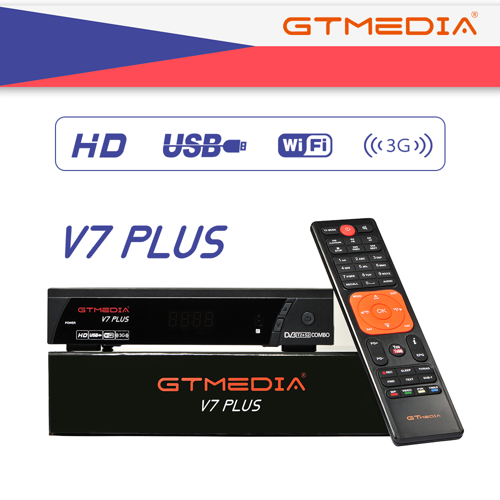 GTMEDIA V7 PLUS Receptor DVB-S2 DVB-T2 Satellite TV Combo Receiver+wifi Antenna Support H.265+Spain Italy CZ 2 Year Cam 5 Clines