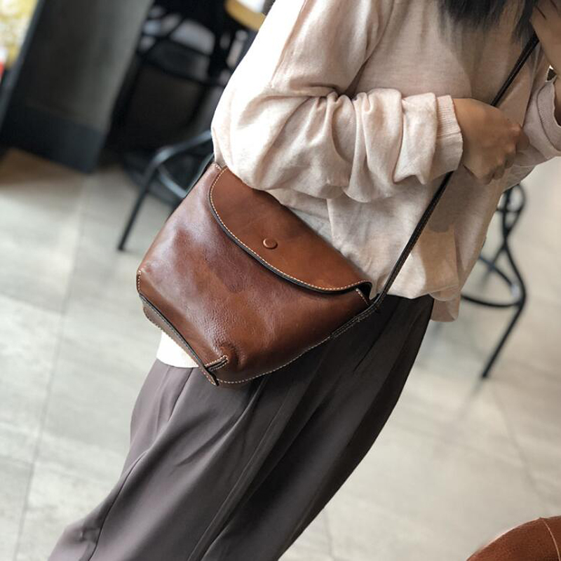 Casual Small Bag For Women Genuine Leather Messenger Bags Shoulder Bags Crossbody Black Clutch Purse Simple Handbag