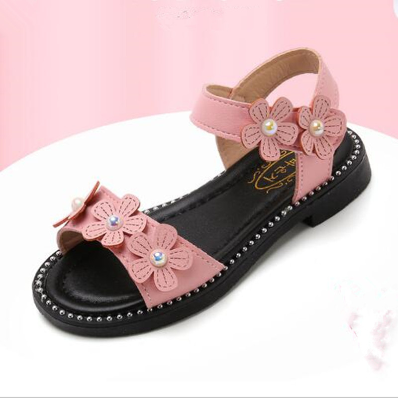 Summer Fashion flowers Girl Sandal Children Big Girls princess Shoes Kids Soft bottom sandals black Pink 4 5 6 7 8 9 10 11-15T