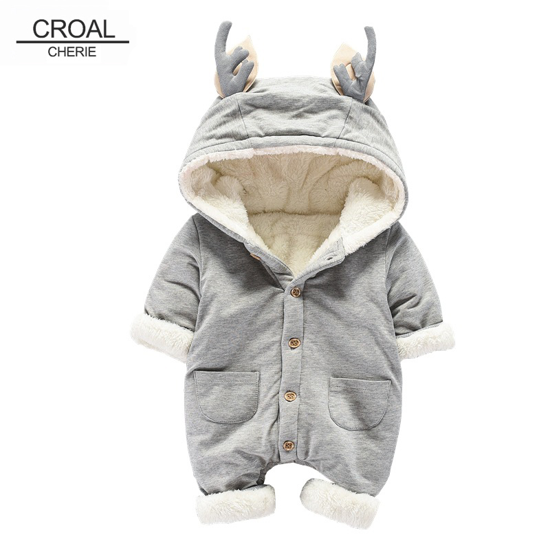 CROAL CHERIE Thicken <font><b>Fleece</b></font> Winiter Boys <font><b>Girls</b></font> <font><b>Romper</b></font> <font><b>Baby</b></font> Winter <font><b>Clothes</b></font> <font><b>Baby</b></font> <font><b>Girls</b></font> <font><b>Clothes</b></font> <font><b>Christmas</b></font> Costume 66-90cm image