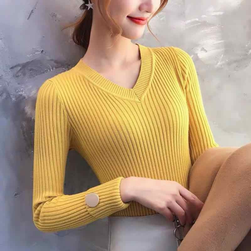 Elegant Classical Jumpers For Women Tight Long Sleeve V Neck Knitwear Top Casual Autumn Ladies Solid Color Pull Femme