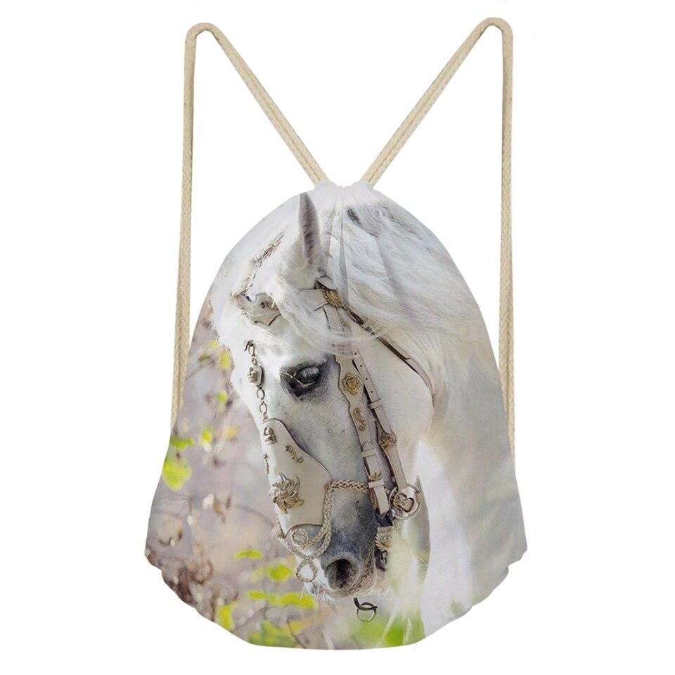 WHEREISART Cartoon Mini Drawsting Bags Kawaii Flower Horse Print Pattern Shoes Pockets Cute Animal Prints Girls Travel Backpack