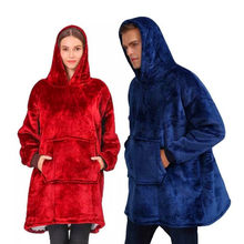 Pour hiver épais confortable femmes surdimensionné douillet portable à capuche couverture sweat adulte TV Sherpa polaire couverture avec manches chaud(China)