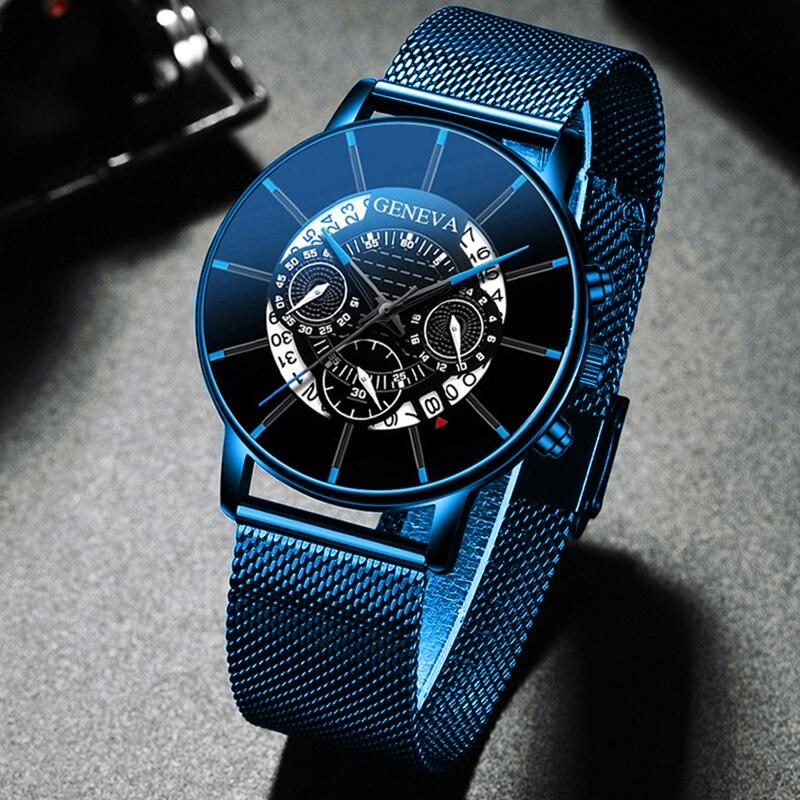 Luxury Men's Fashion Business Calendar Watches Blue Stainless Steel Mesh Belt Analog Quartz Watch relogio masculino 1
