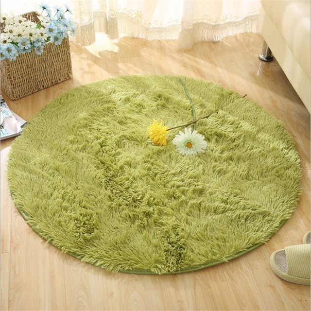 Фото fluffy round rug carpets for living room decor faux fur rugs