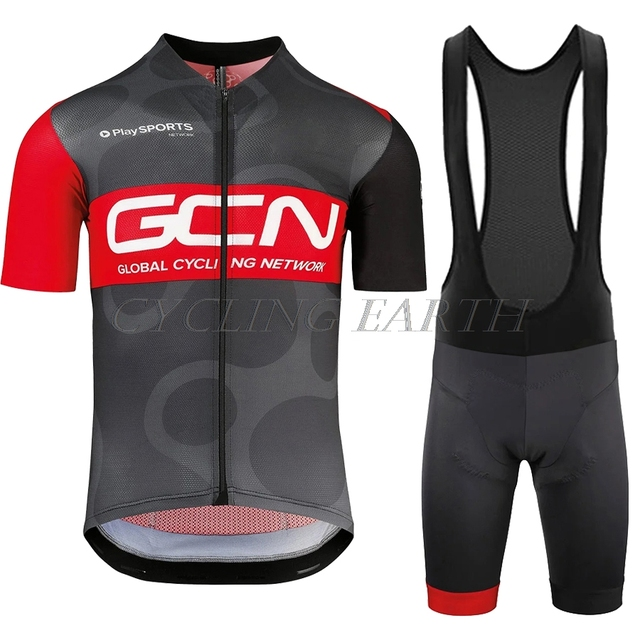 GCN Cycling Set 2020 Pro Team Clothing Bike Short Sleeve Jersey Summer Suit Tops + Bib Shorts Maillot Kit Clothes