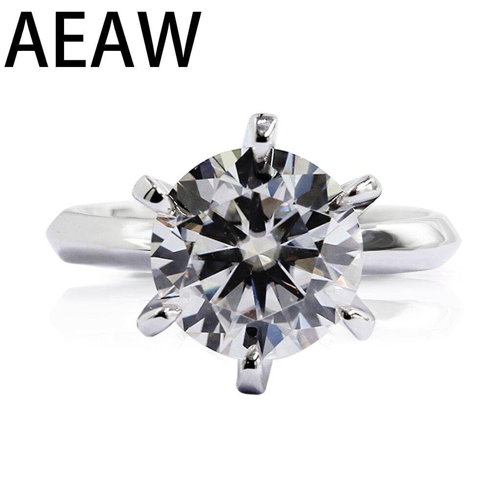 Banhado a Ouro Anel de Diamante Aeaw Redondo 18 k Branco 925 Prata Teste Passou Jóias Mulher Namorada Presente 1.0ct 3ct 5ct ef