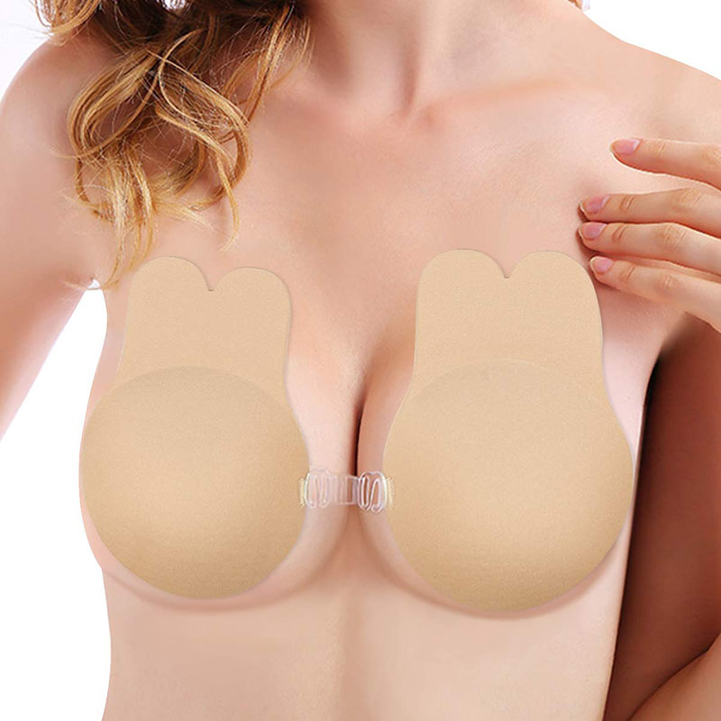 Push Up Bra Rabbit Strapless Adhesive Bra Sticker Self Adhesive Nipple Cover Reusable Breast Pasties Silicone Invisible Lingerie