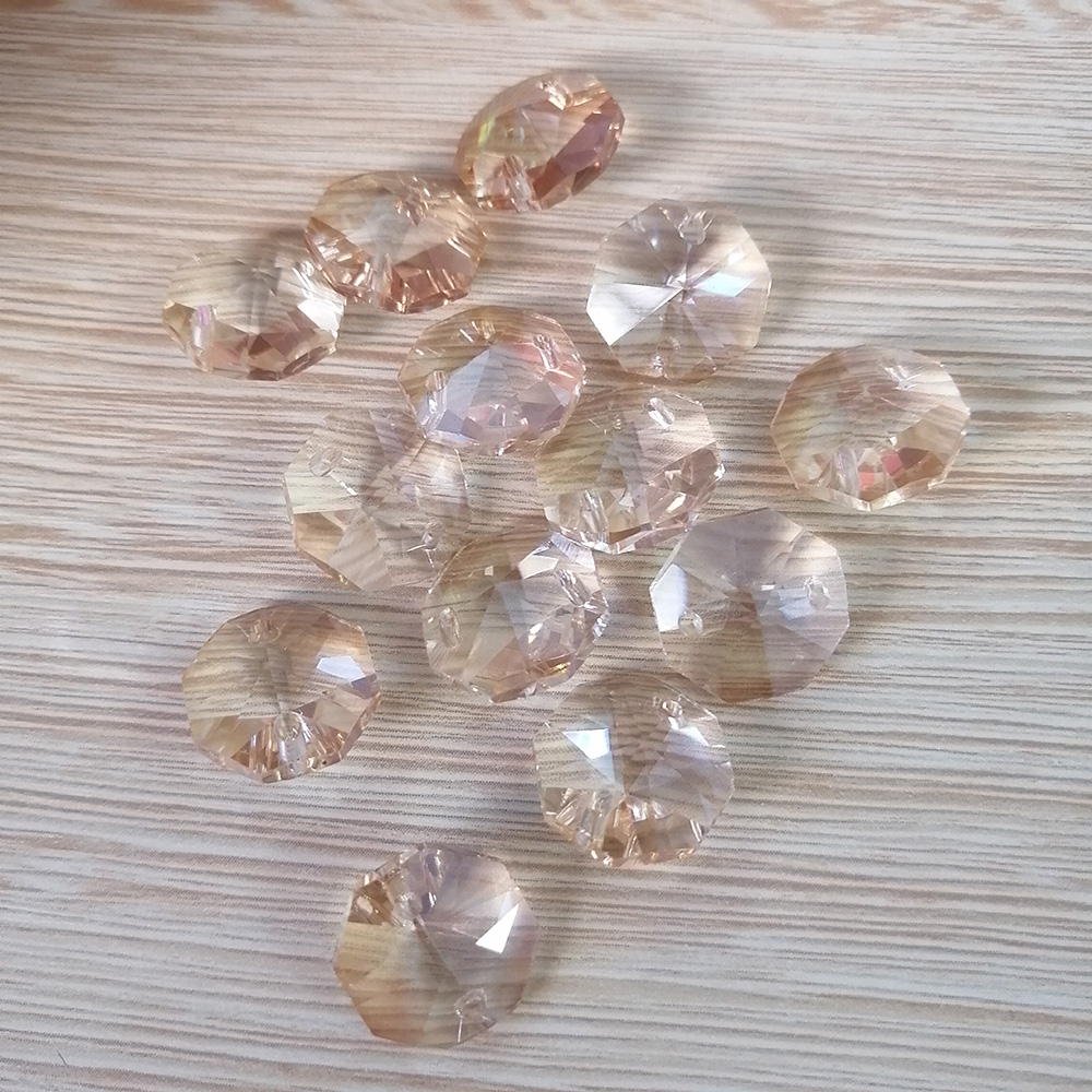 Camal 20pcs Champagne 14mm Crystal Octagonal Loose Bead Two Holes Prisms Chandelier Lamp Parts Wedding Centerpiece