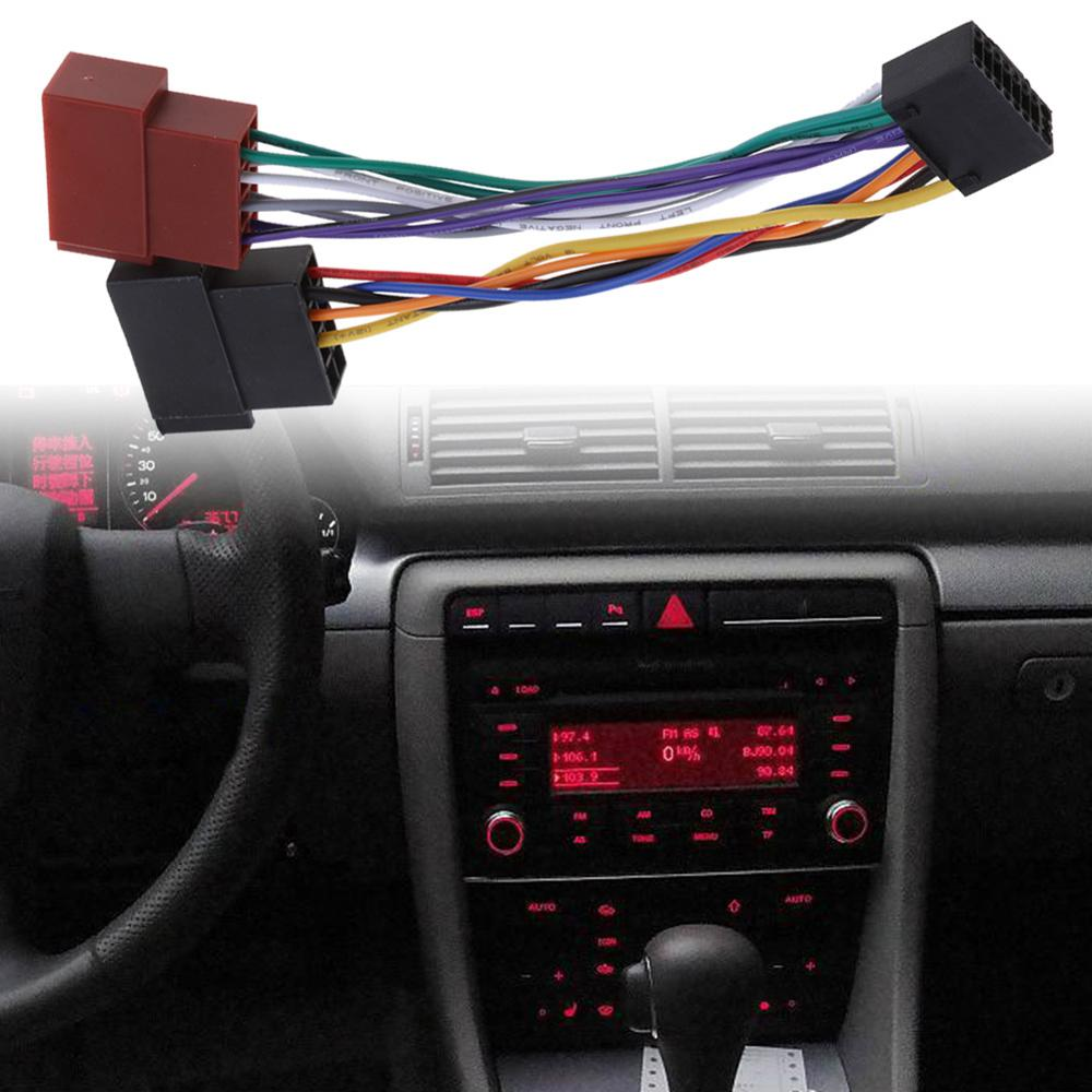1 Pcs Wire Harness Adaptor for Kenwood / JVC Car Stereo Radio ISO Standard Connector Adapter 16 Pin Plug Cable