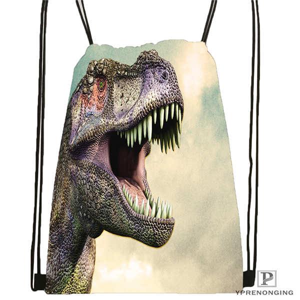 Custom Jurassic-world-   Drawstring Backpack Bag Cute Daypack Kids Satchel (Black Back) 31x40cm#2018611-2(18)