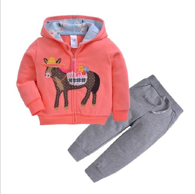 Одежда для маленьких девочек пальто с капюшоном с длинными рукавами и вышитым единорогом+ штаны, г. Весенняя одежда для маленьких мальчиков комплект для малышей, одежда для малышей - Цвет: 18