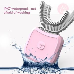 Image 3 - Brosse à dents électrique sonique, Type U, brosse à dents automatique paresseux à chargement USB, 360 degrés, outil de nettoyage de la brosse, soins oraux