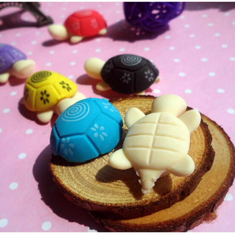 4PCS Cute Kawaii Cartoon Tortoise Rubber Eraser Lovely Korean Stationery For Kids Students Creative Item Gift