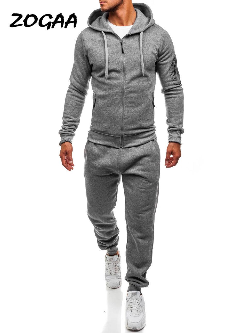 ZOGAA 2020 Spring Hot Sale Men's Sports And Leisure Slim Joggers SweatSuits Hoodies+Pants Suit CSweatshirt Sportswear Set 2pc
