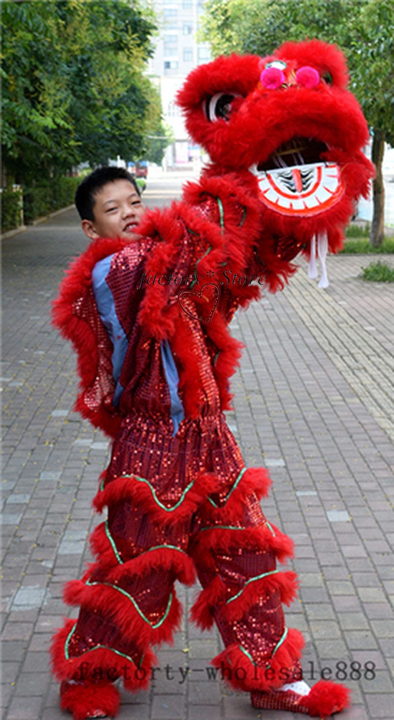 Advertising Pur Lion Dance Mascot Costume Pure Wool Southern Lion For One Person