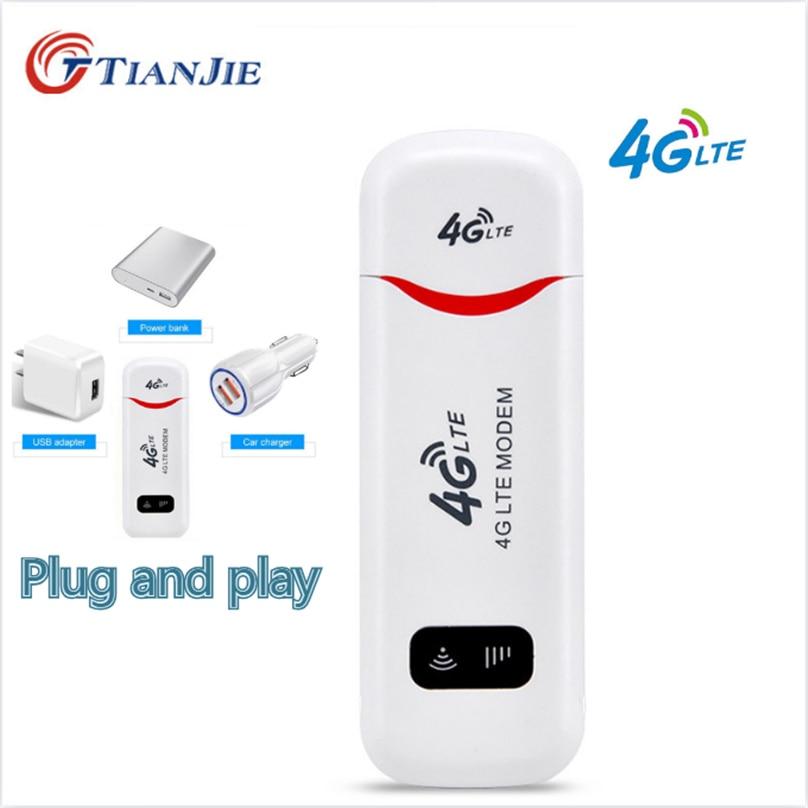 TIANJIE Unlocked 3G 4G WiFi Router LTE Modem USB Hotspot Wireless 4G Sim Card Dongle Wireless Sim Car Wifi Pocket Network Stick