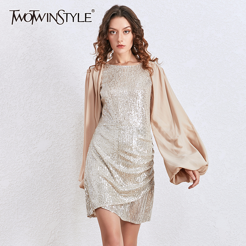 TWOTWINSTYLE Patchwork Lantern Sleeve Party Dress Women Fashion Sequins Slim Sexy Dresses Female 2020 Spring New Clothing