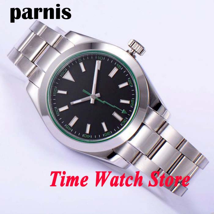 Parnis 40mm black sterial dial green marks luminous flash hand sapphire glass Automatic men's watch 432 relogio masculino
