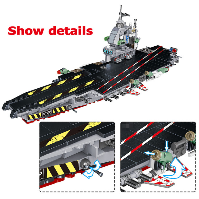 725Pcs Fighter Cars Airplane Destroyer WW2 Military Aircraft Carrier Weapon Model Building Blocks Toys For Children Boy