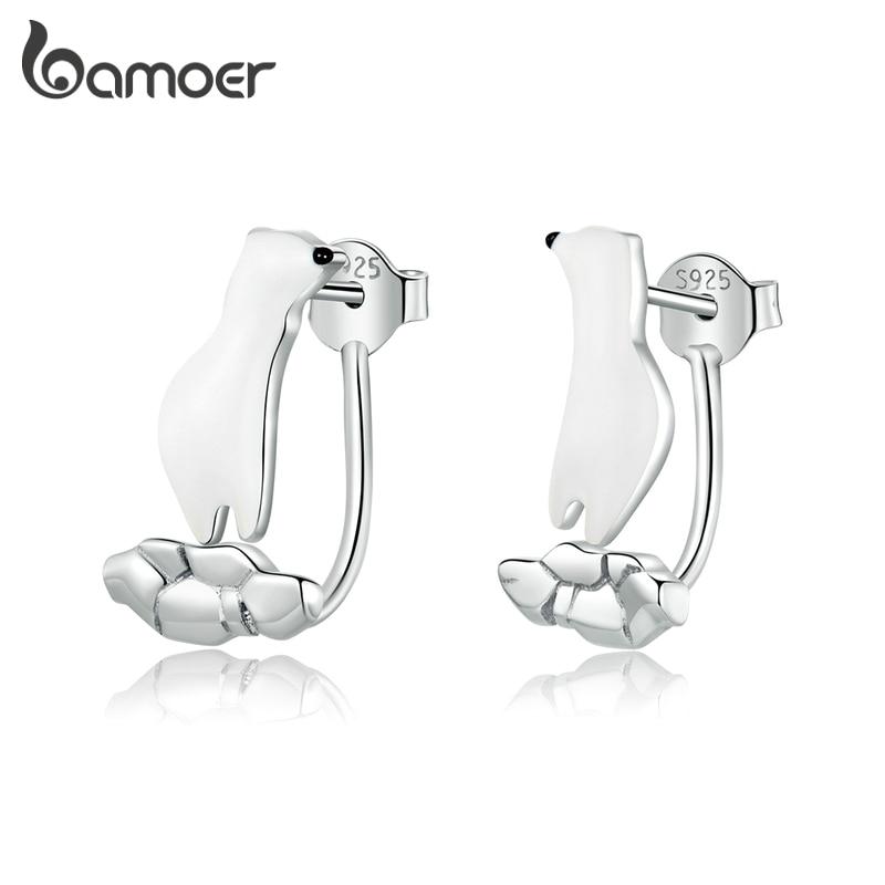 Bamoer 925 Silver Enamel Stud Earrings For Women Original Design Polar Bear On Cracked Ice Original Design Fine Jewelry BSE347